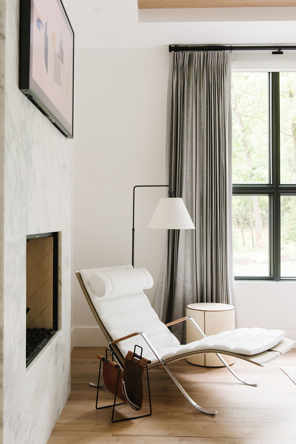 master bedroom lounge chair rocking chairs for nursery canada modern lake house photo tour the wing studio mcgee in corner with lamp and magazine sling lakehouse by