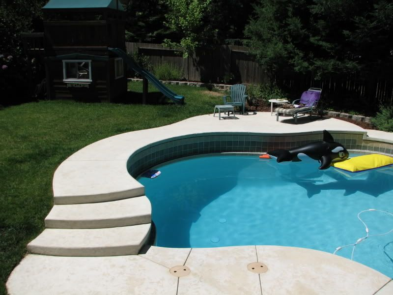 Pool to go in sloped back yard pools spas forum for Pool design for sloped yard