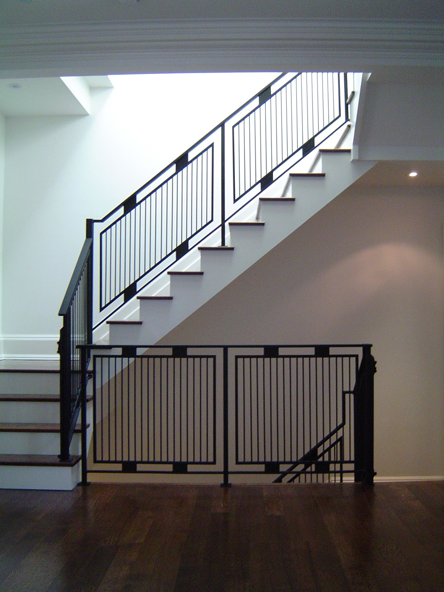 Light Weight Steel Tube Railings From The Basement To The Second Floor Www Thesteelworks Ca Railing Design Balcony Railing Design Stair Railing Design