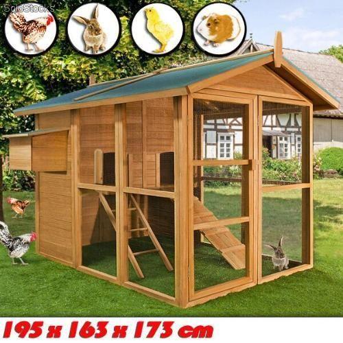 Gallinero granja jaula casa para animales peque os aves conejera de madera jard n - Casas para gallinas ...