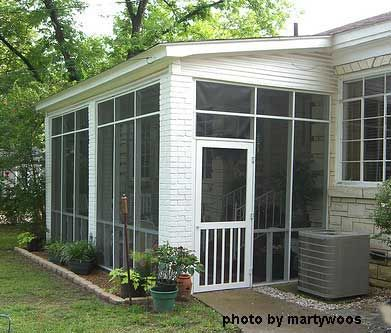 Screened porches screened porch note the brick for Shed roof screened porch plans