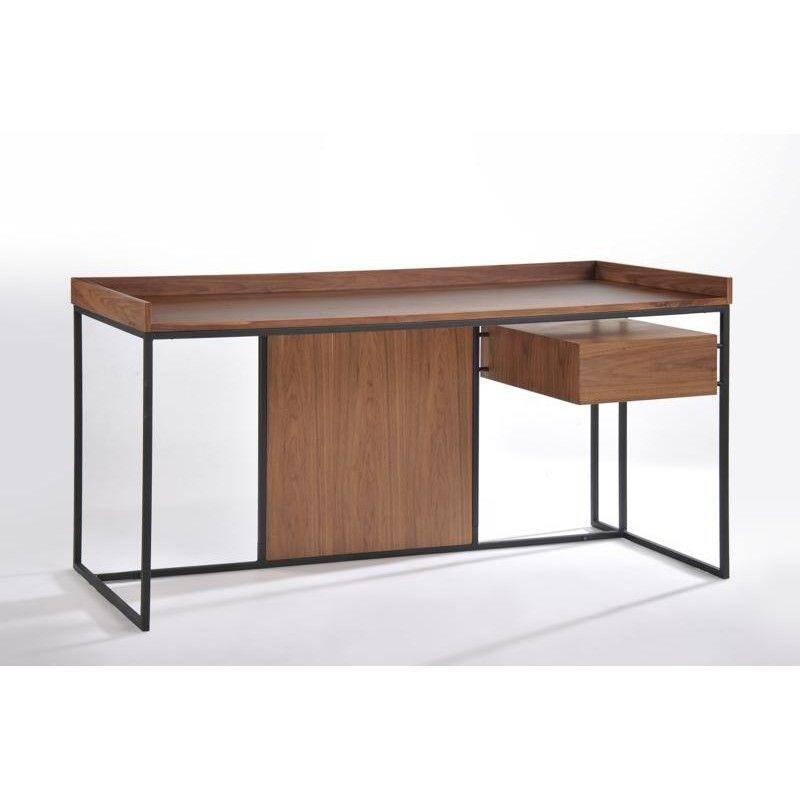 Bureau Droit Vintage Armel En Bois Et Metal Noyer Bureau Bois Bureau Droit Mobilier De Salon