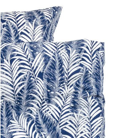 Dark Blue Twin Duvet Cover Set In Cotton Fabric With A Printed Palm Leaf Pattern Duvet Cover Fastens A Duvet Cover Pattern Duvet Cover Sets Duvet Covers Twin