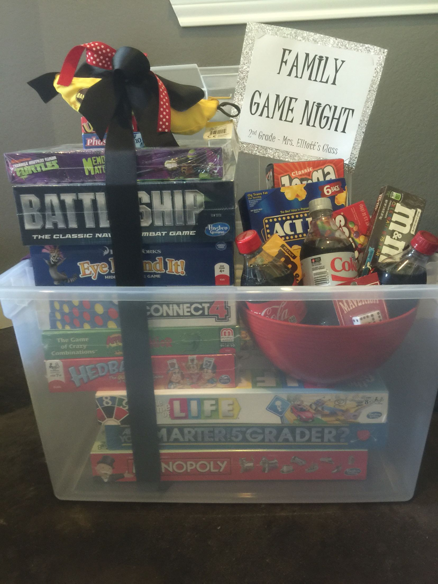 Family game night silent auction basket Auction baskets