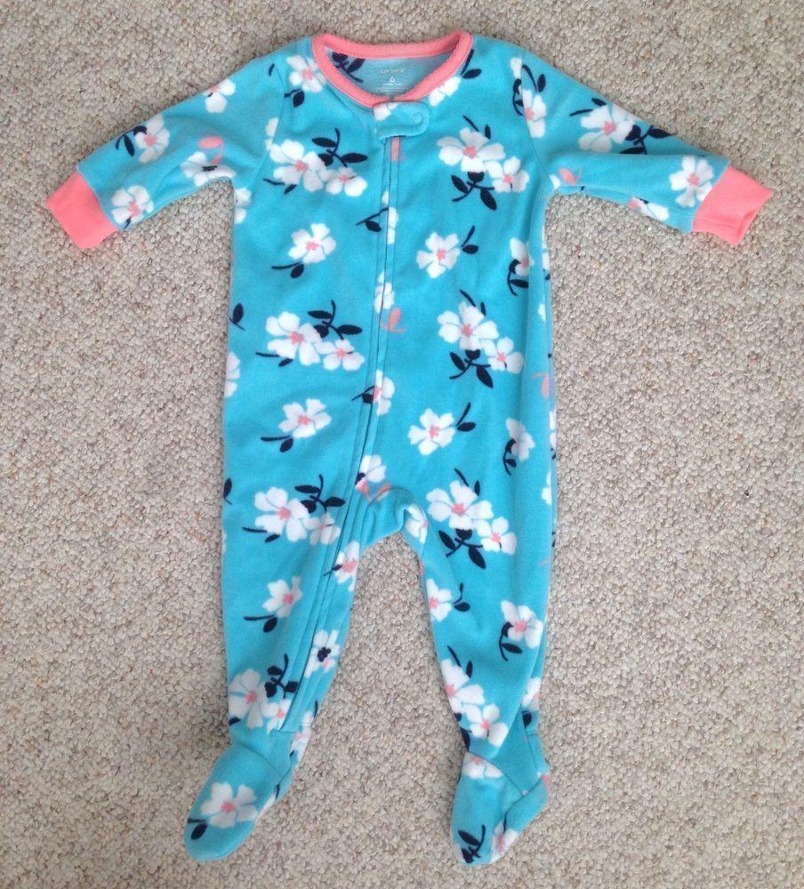 a84330773 6 month baby girl CARTERS FLEECE SLEEPER Zip Up Front Blue Pink ...