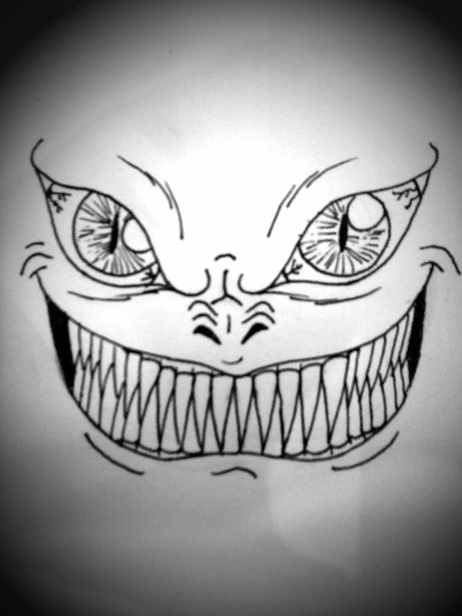It is a graphic of Satisfactory Scary Mouth Drawing