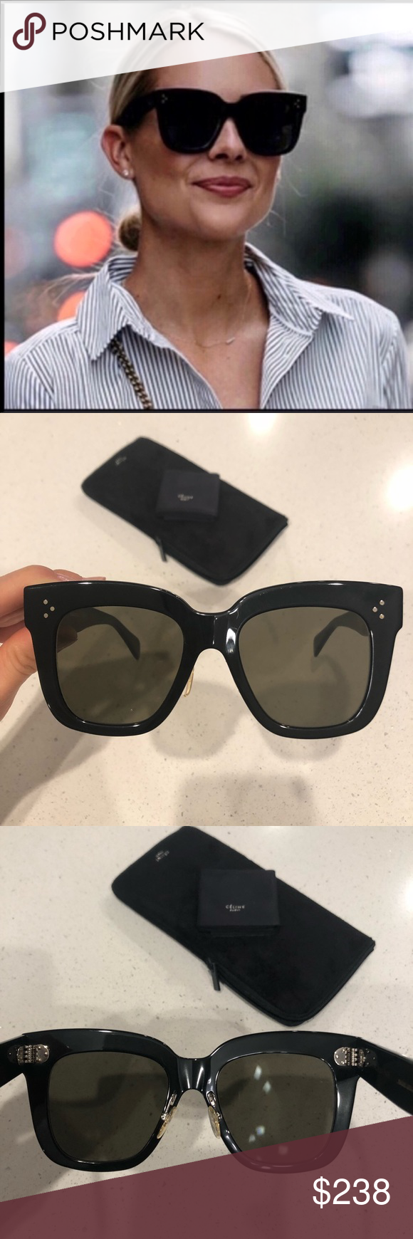 212fb330713 Celine sunglasses   Celine 41444 s Kim Black grey sunglasses New. 100%  authentic guaranteed. No scratches on the lenses. Some light marks on the  frames ...