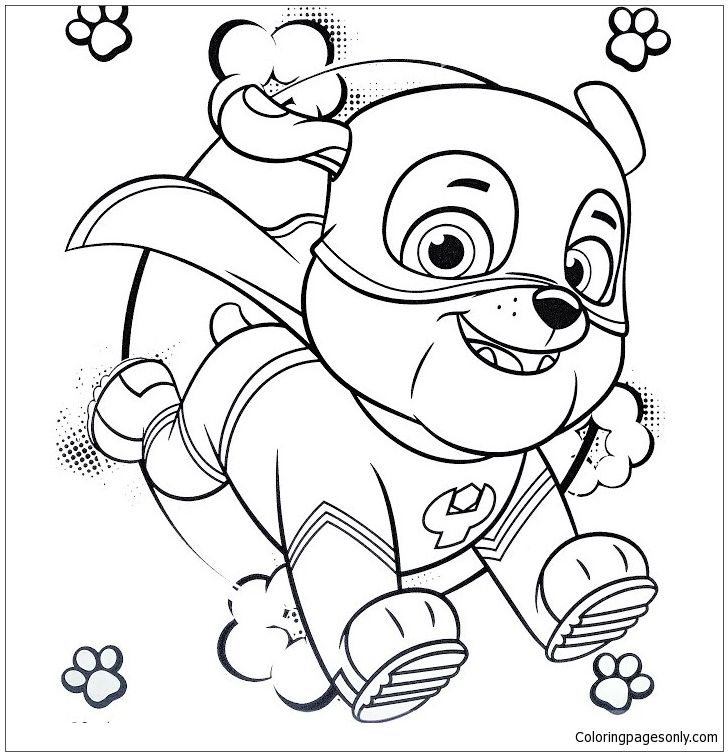 Super Hero Rubble Paw Patrol Coloring Page Coloring