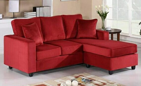Red Velvet Microfiber Reversible Chaise Apartment Size Sectional