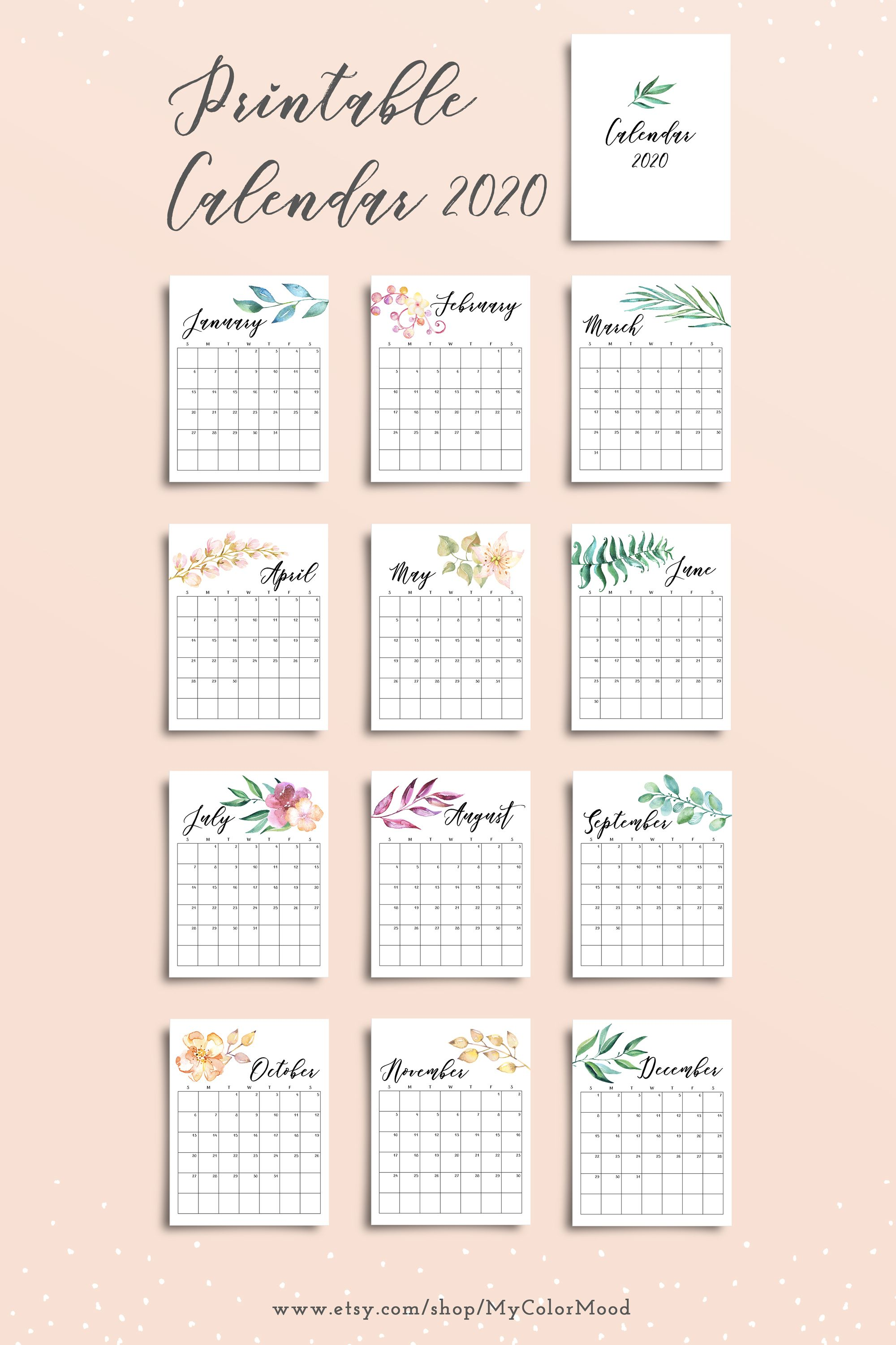 Printable Monthly Calendar 2020 Pages Botanical Watercolor Floral