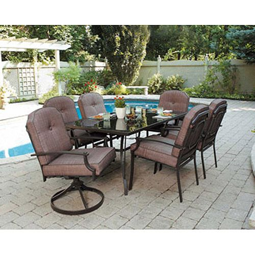 Mainstays Wentworth Piece Patio Dining Set Outdoor Living - 7 piece outdoor dining set round table