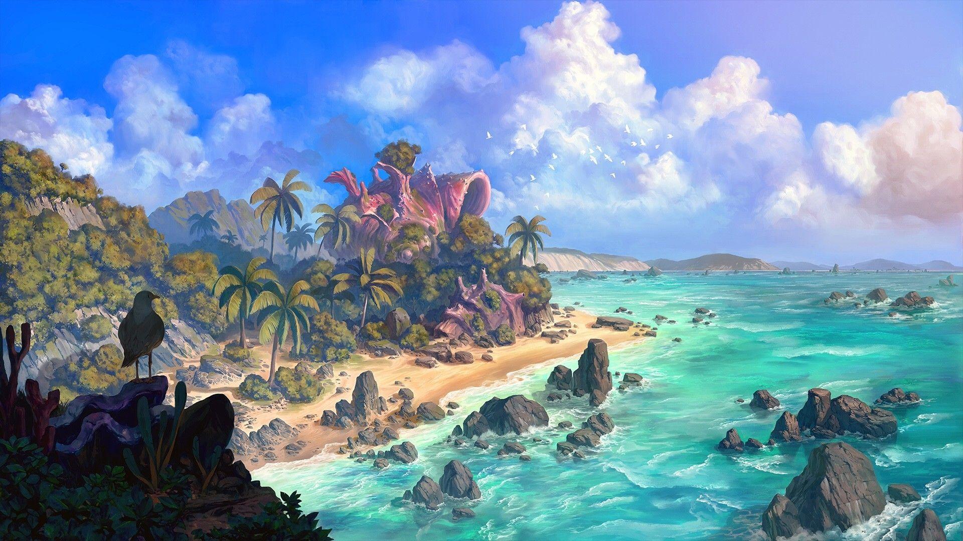 Artstation Beach Wonwoo Cho Fantasy Art Landscapes Beach Landscape Fantasy City