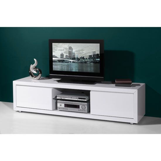 Fino High Gloss White LCD Plasma Tv Stand With 2 Drawers   High Gloss TV  Stands