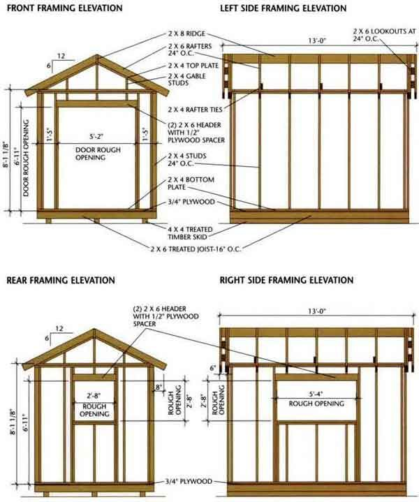 shed blueprints 8x12 Framing Elevation Front and Back – Free Garden Shed Plans 8X12