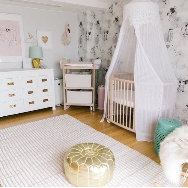 A Touch Of Gold Or Silver Always Looks Great In A Nursery Photo Magnificent Gold Pouf Nursery