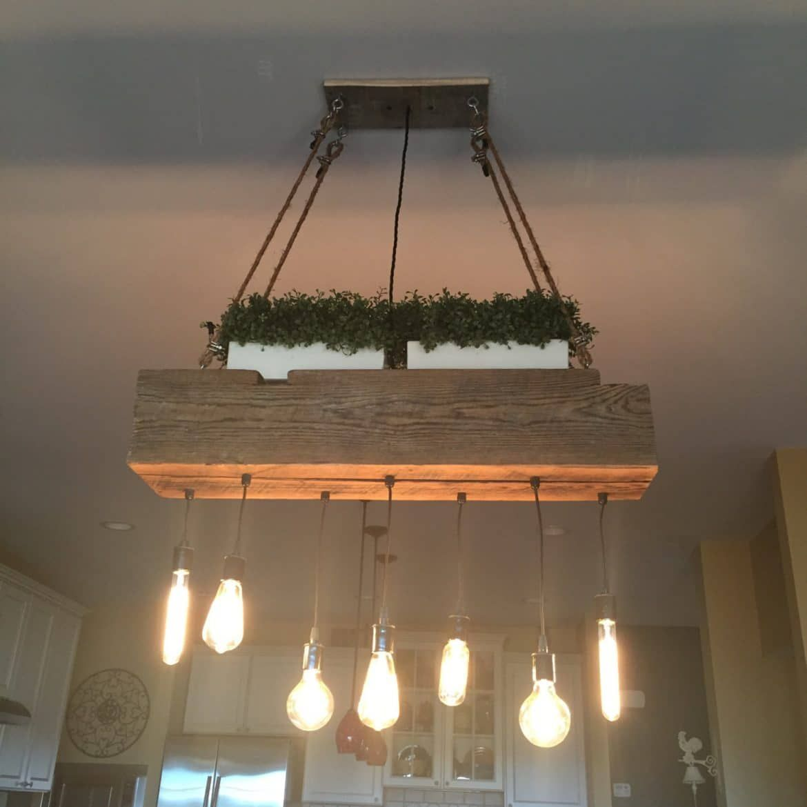 Huge reclaimed wood beam chandelier for you modern farmhouse lighting home bar restaurant 100year old reclaimed barn wood gives a rustic look to mode
