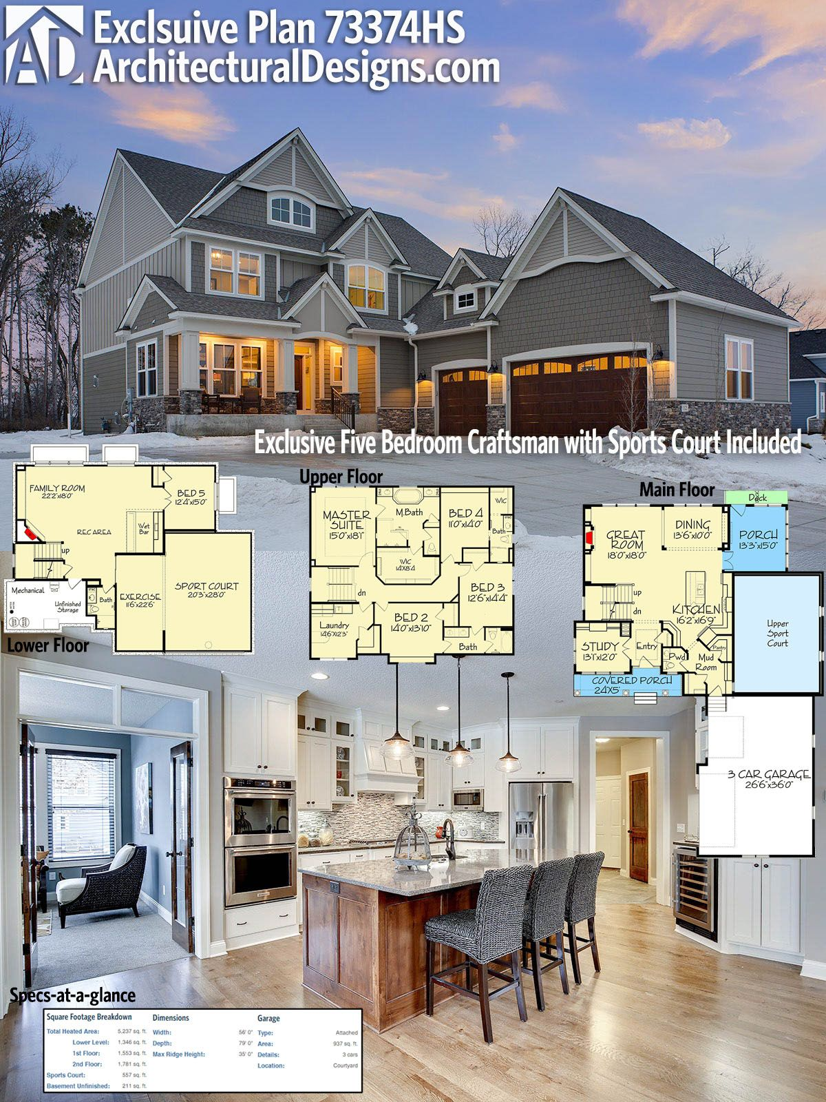 Plan 73374HS Exclusive Five Bedroom Craftsman with