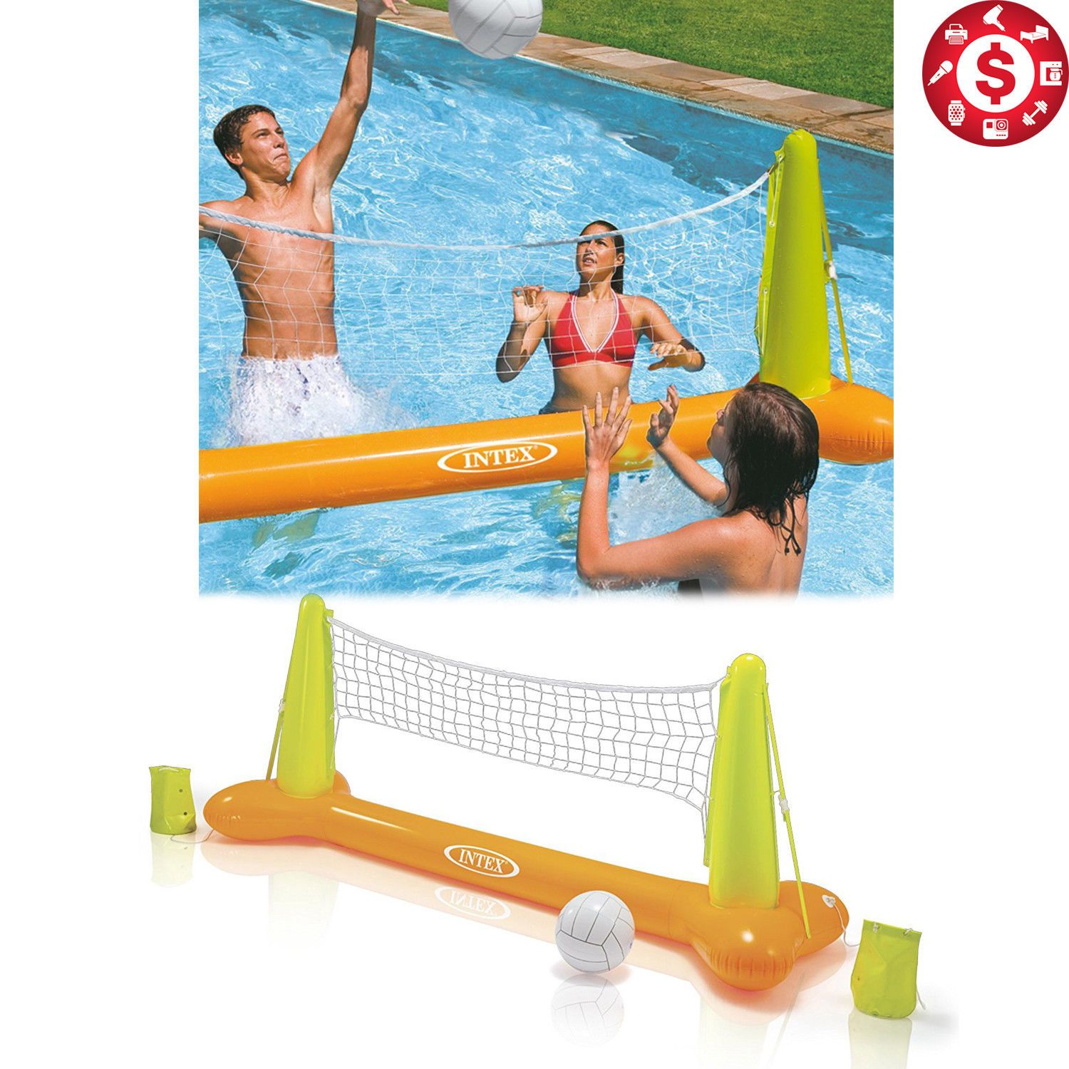 Intex Swimming Pool Volleyball Game Inflatable Floating Toy Family Kids Play Net Intex Swimming Pool Pool Volleyball Games