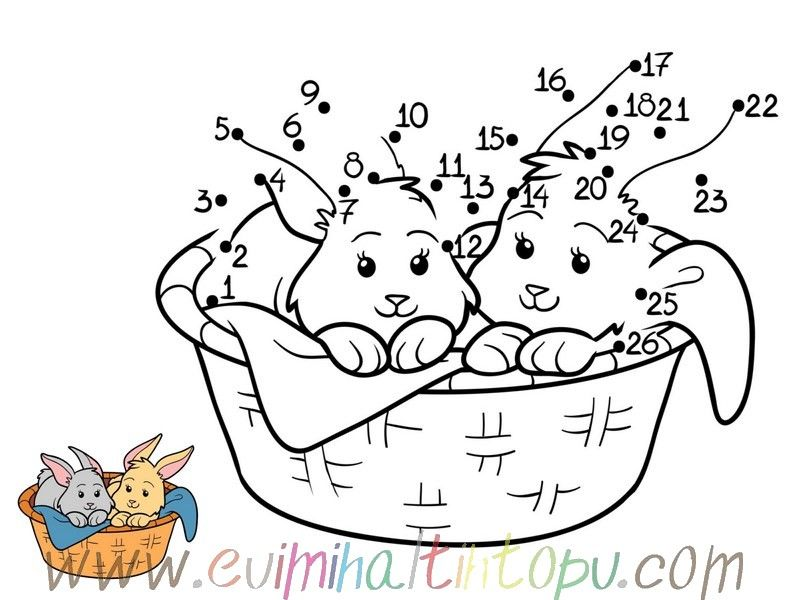 Nokta Birleştirme Boyama Oyunları 1 Materials8 Dots Bunny