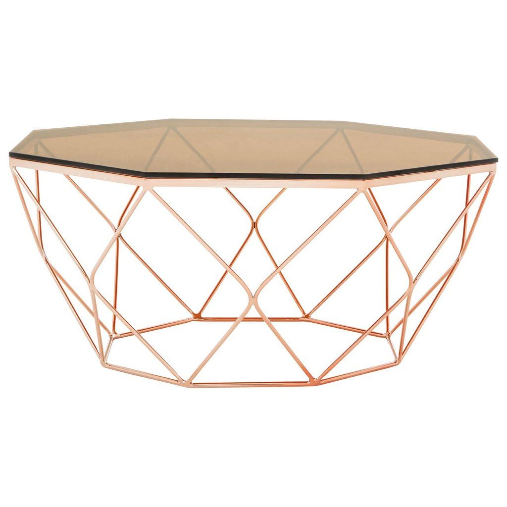 Shelby Glass Coffee Table With Rose Gold Base Rose Gold Coffee Table Octagonal Coffee Table Glass Coffee Table [ 1024 x 1024 Pixel ]