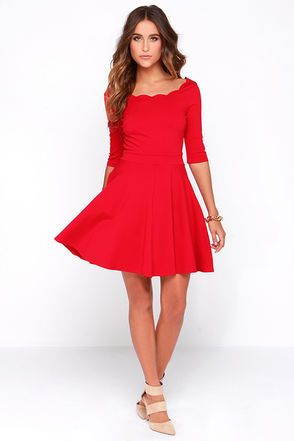 a5008e2067b LULUS Exclusive Tip the Scallops Red Dress at Lulus.com! Cute Red Dress - Scalloped  Dress - Skater ...
