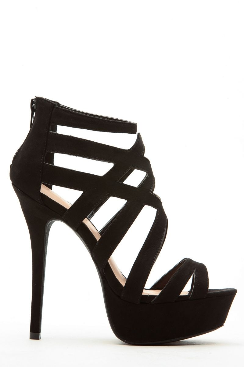 2eed21cf8c683b Black Faux Suede Cross Strap Platform Heels   Cicihot Heel Shoes online  store sales Stiletto Heel Shoes