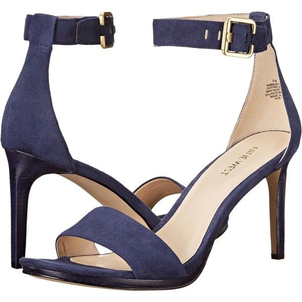 4d7054eae Nine West Meantobe (Navy Suede) Women's 1-2 inch heel Shoes (£33) ❤ liked  on Polyvore featuring shoes, sandals, blue, suede sandals, ankle wrap  sandals, ...