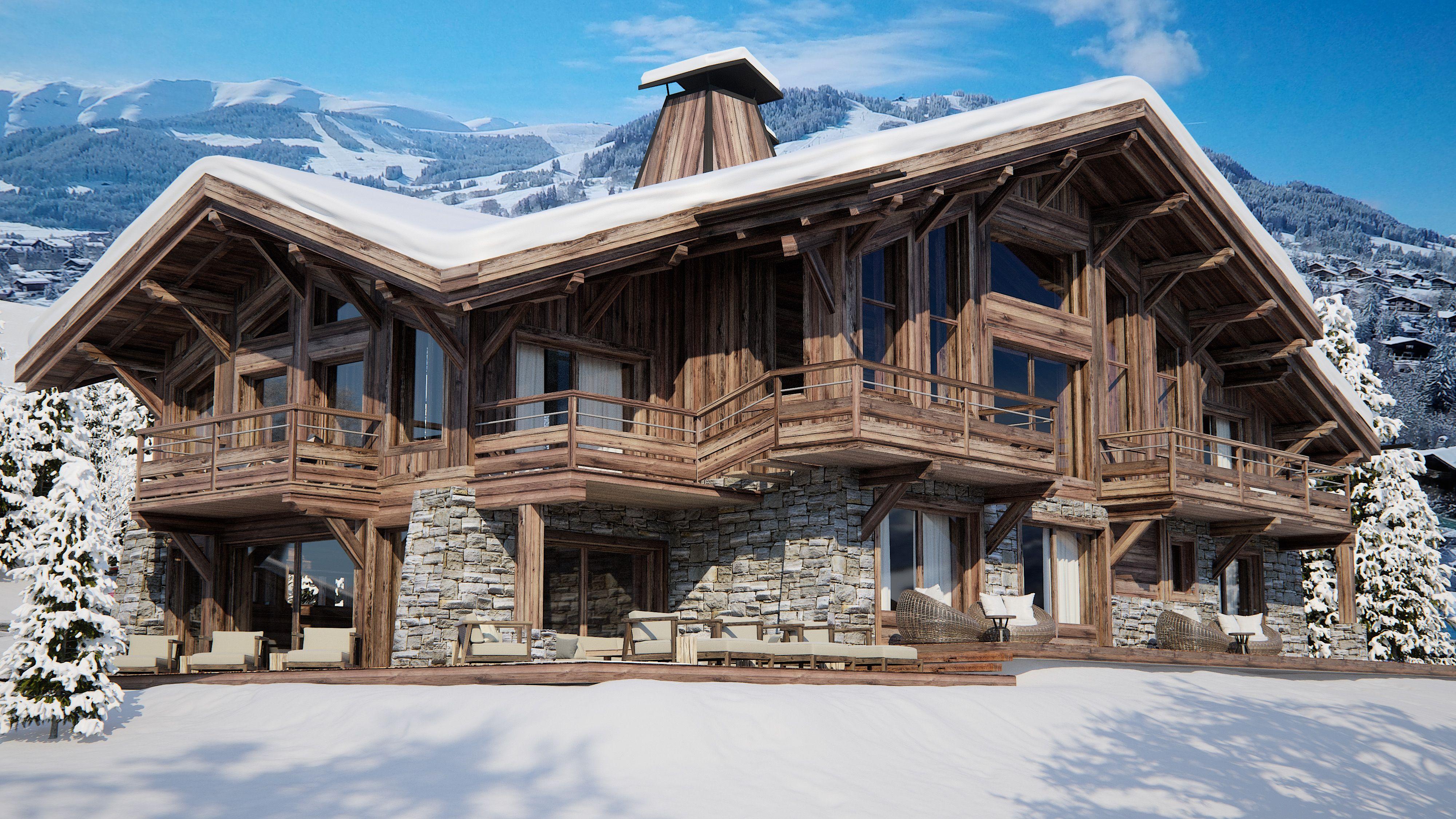Projet immobilier megeve construction de luxe chalet sur for Construction chalet