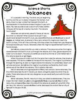 Volcanoes Reading Comprehension Passage   Reading ...