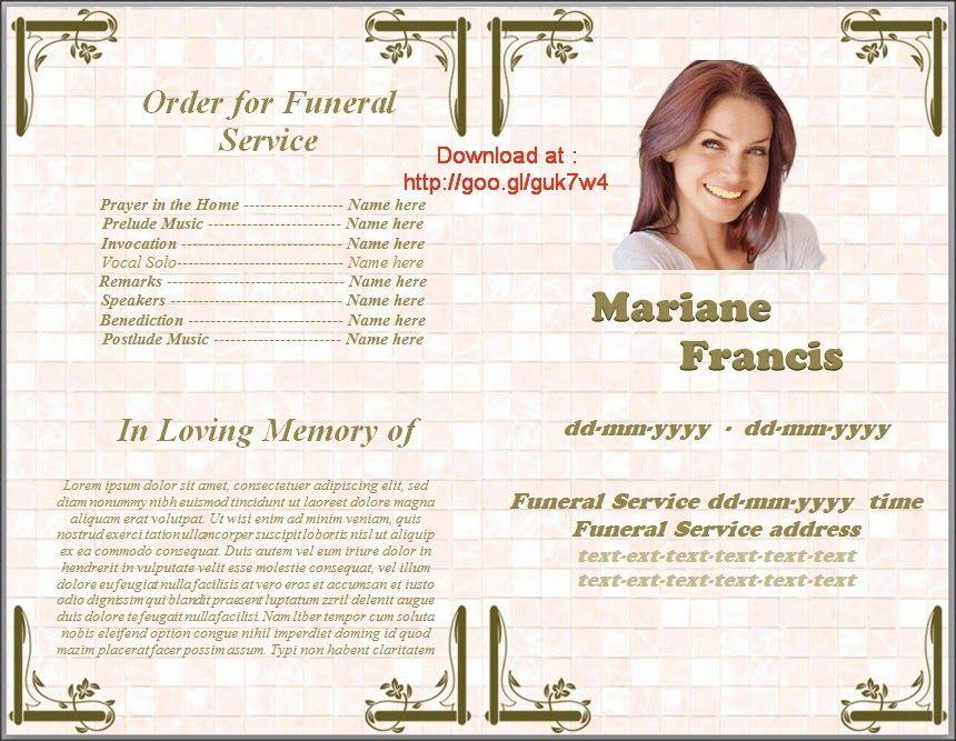 Where To Get Free Template Funeral Program In Spanish For MS Word - free funeral program template