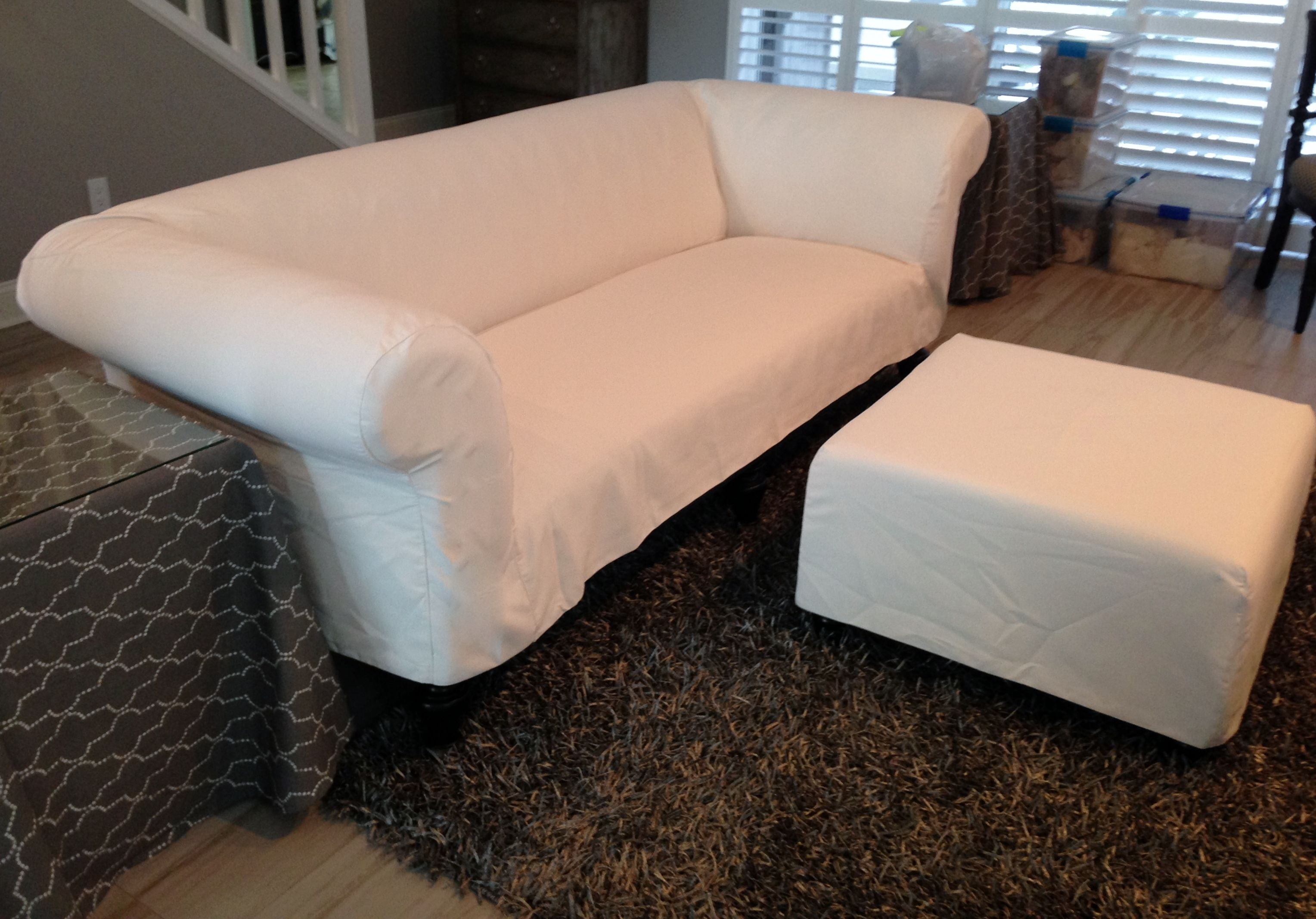 Chesterfield Sofa Slipcover in White Sunbrella Fabric