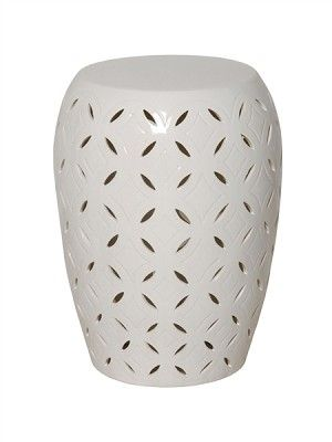 Small White Glaze Lattice Ceramic Garden Stool Www Finegardenproducts