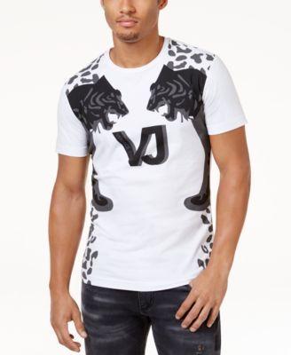 Versace Jeans Men S Tiger Print Stretch T Shirt In White Modesens Versace Jeans Mens Mens Tshirts Versace Men