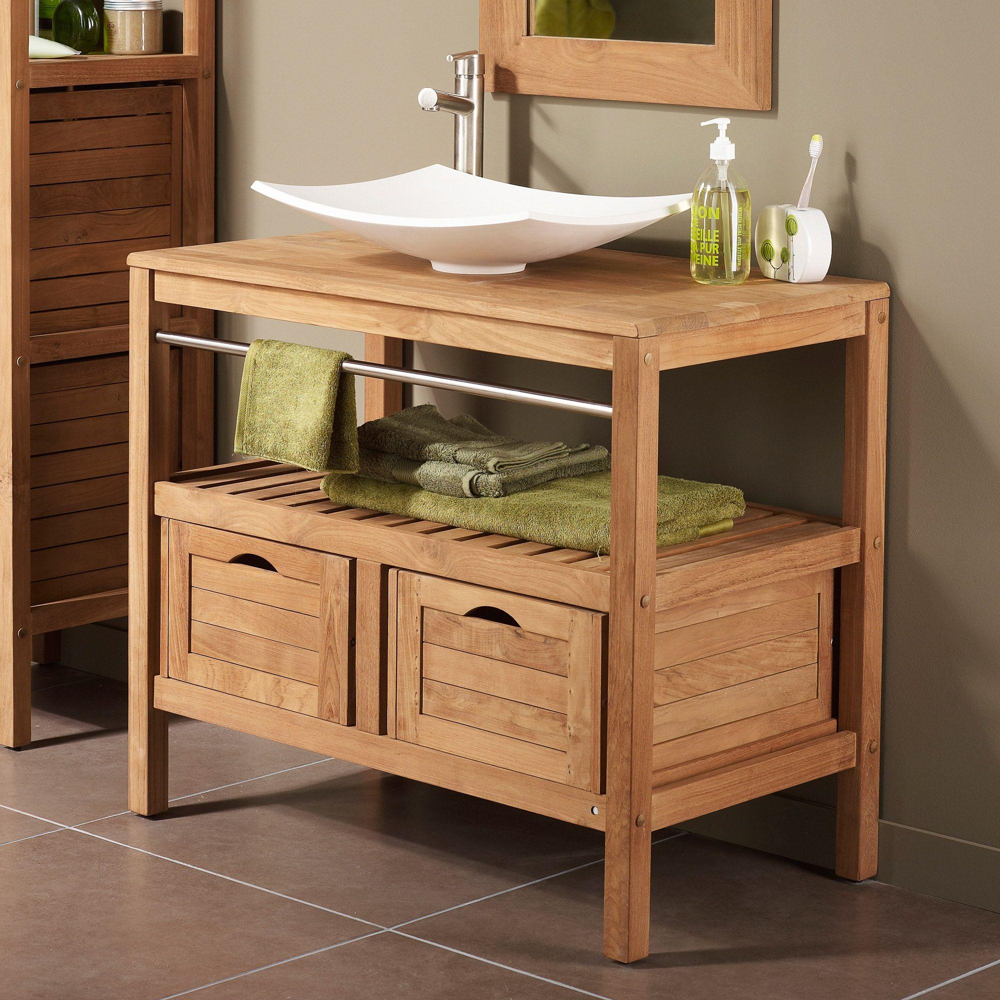 Meuble sous vasque avec plan 2 tiroirs sdb chalet en - Meuble sous vasque de salle de bain ...