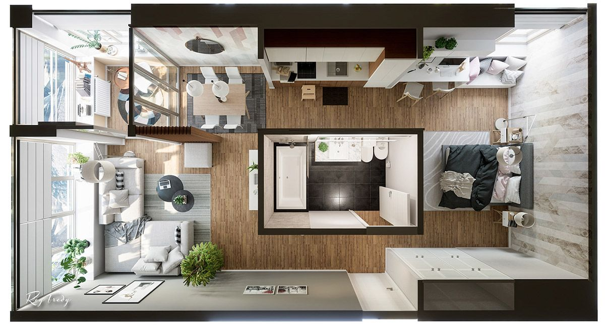 3 Beautiful Small Apartment Interiors Includes Layout Small