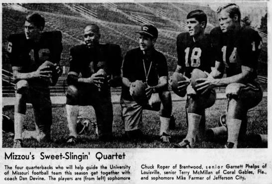 Coach Dan Devine and Mizzou QBs, 1969 in 2020