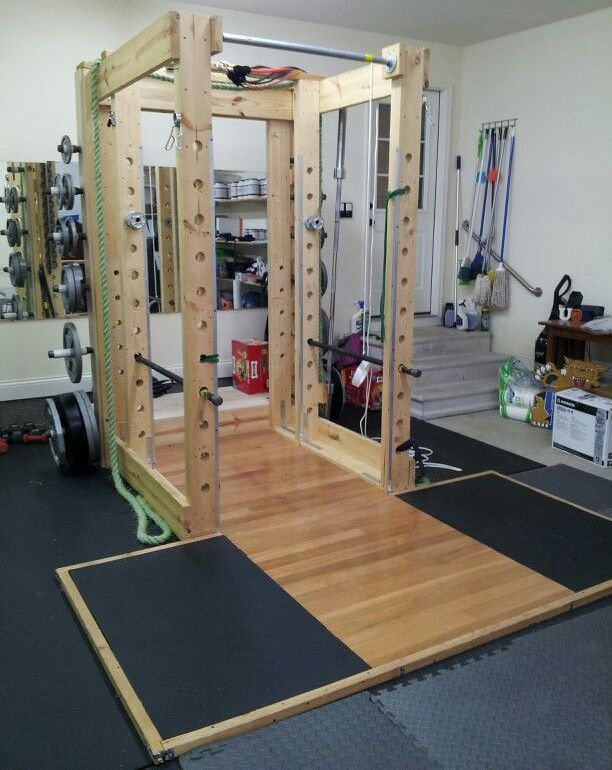 Functional Wood Power Rack Home Gym Design Diy Home Gym Home