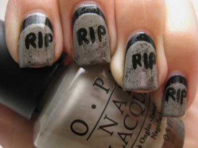 gravestones  nails how to do nails halloween nails