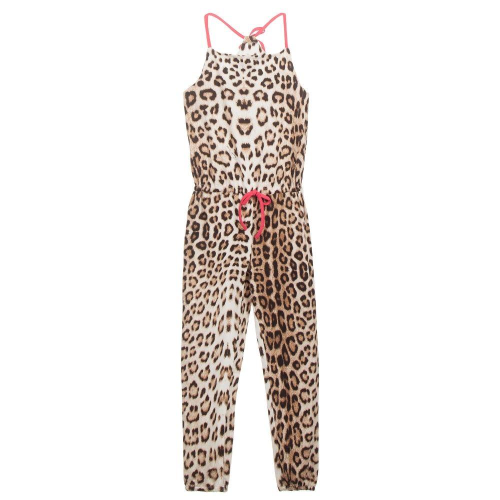 2389b9bf4e Roberto Cavalli - Girls Cotton Jersey Leopard Print Jumpsuit ...