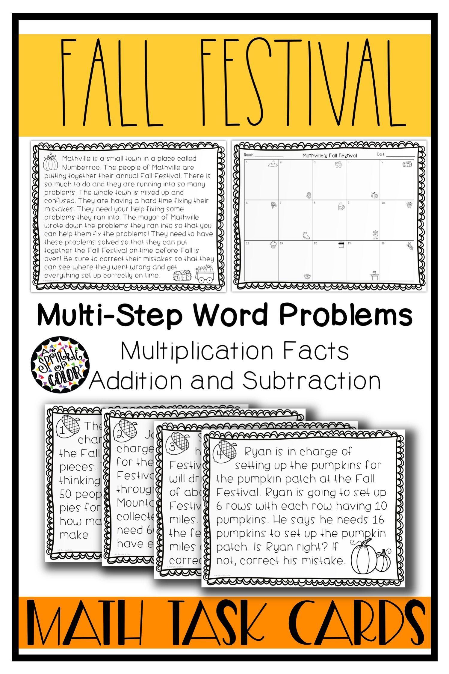 Fall Festival Math Task Cards