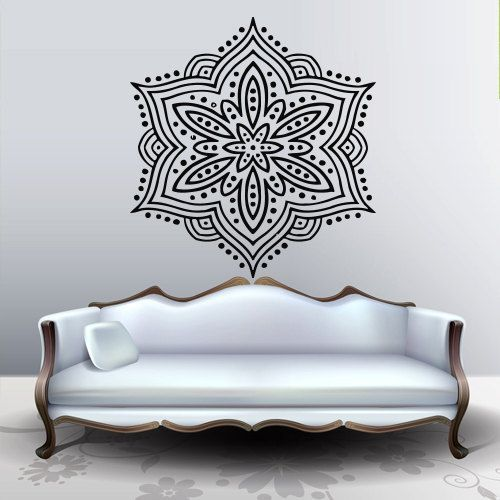 Wall Decal Art Decor Decals Sticker Snowflake Buddhism India Indian Circle  Buddha OM Yoga Room (