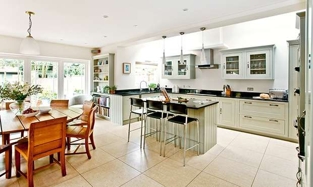 L Shaped Open Plan Kitchen Living Room