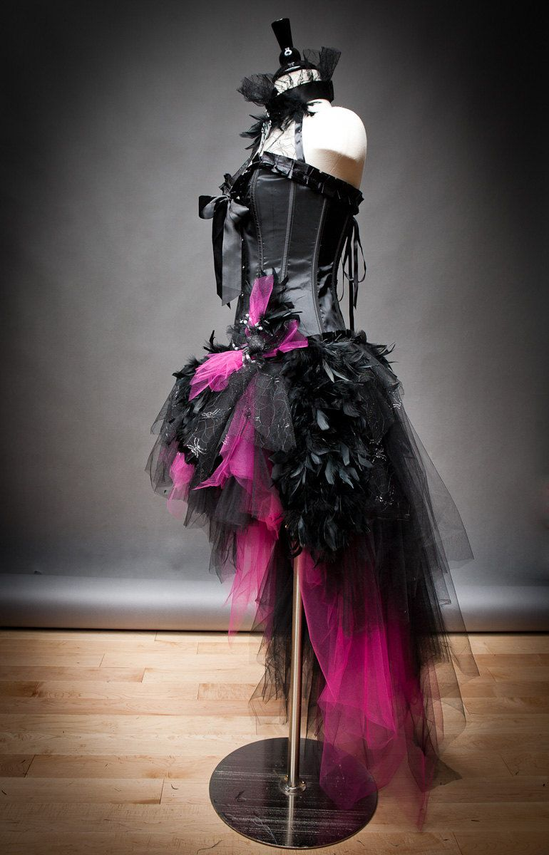 Size medium hot pink and black feather burlesque corset witch