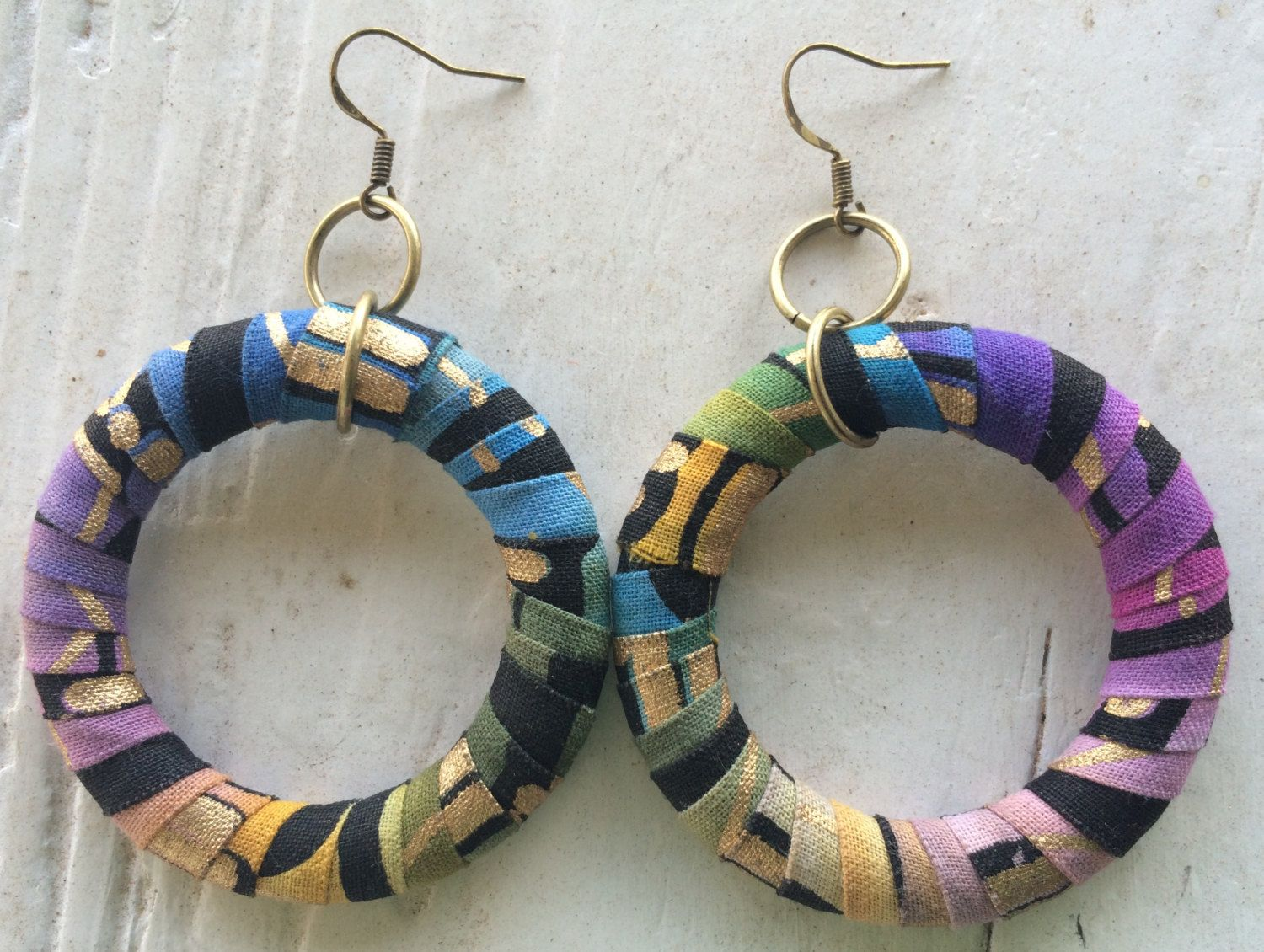 Earring Hoop covered with Ragged African Print fabric by ReVeLinDesigns on Etsy