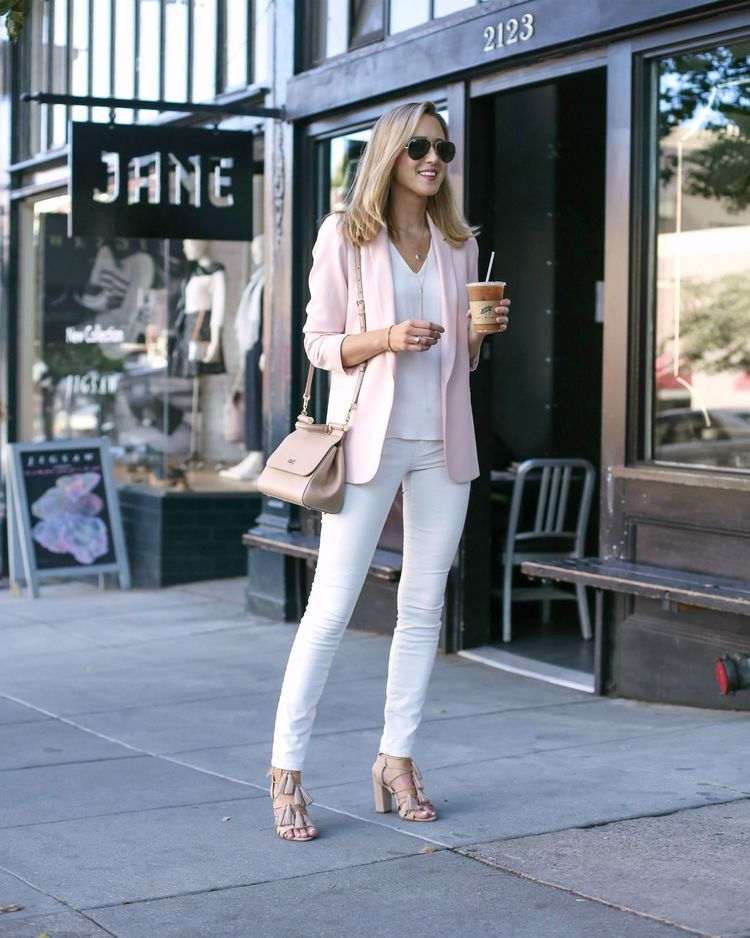 Blush Blazer and White Skinny Jeans