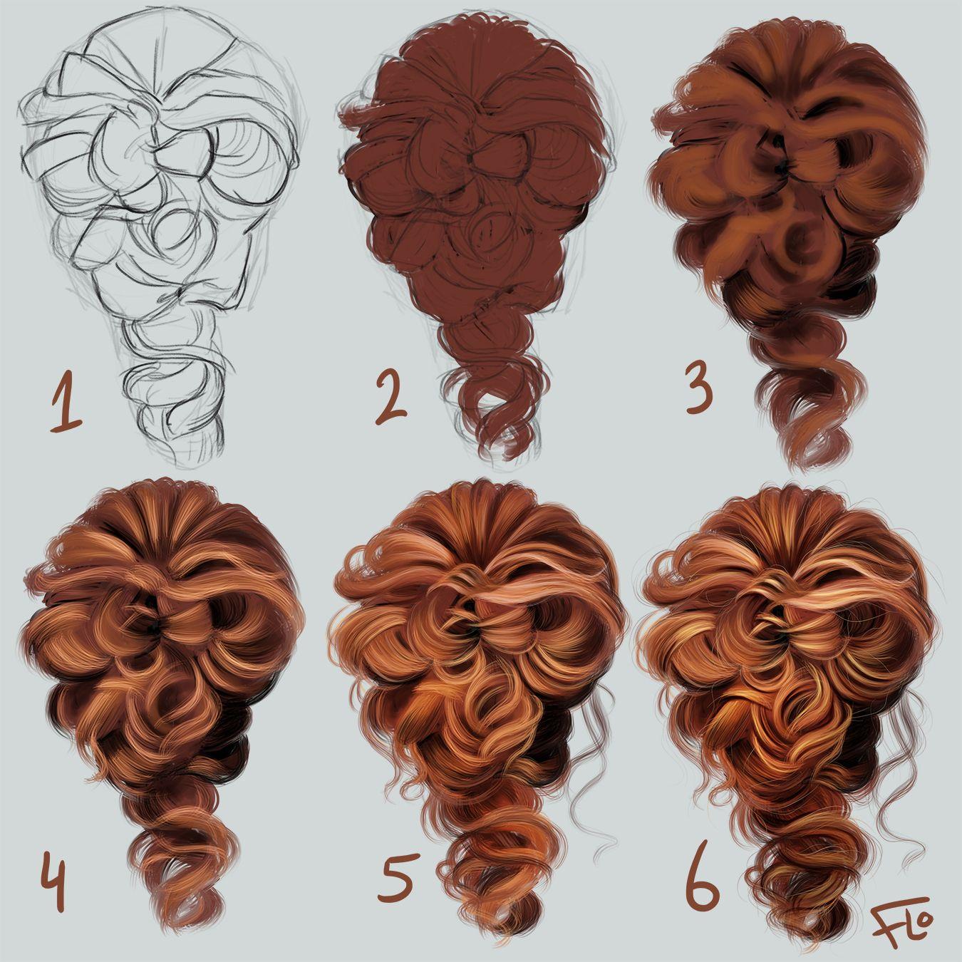 Digital Drawing Hair Step By Step Procreate Ipad Art How To Draw Hair Digital Painting Tutorials