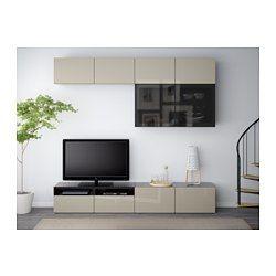 BESTÅ TV storage combination/glass doors - black-brown/Selsviken high-gloss/beige smoked glass, drawer runner, soft-closing - IKEA