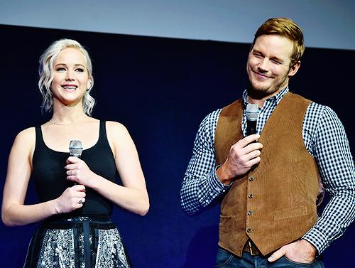 Jennifer Lawrence and Chris Pratt attend CinemaCon 2016 at Caesars Palace on April 12, 2016 in Las Vegas, Nevada.