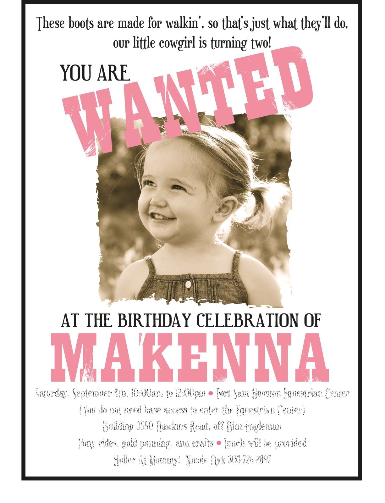 Alluring Vintage Cowgirl Birthday Party Invitations Birthday Party ...