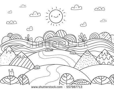 Stock vector cute cartoon meadow with mountain bunny and river kids coloring page 557987713 jpg 450x356
